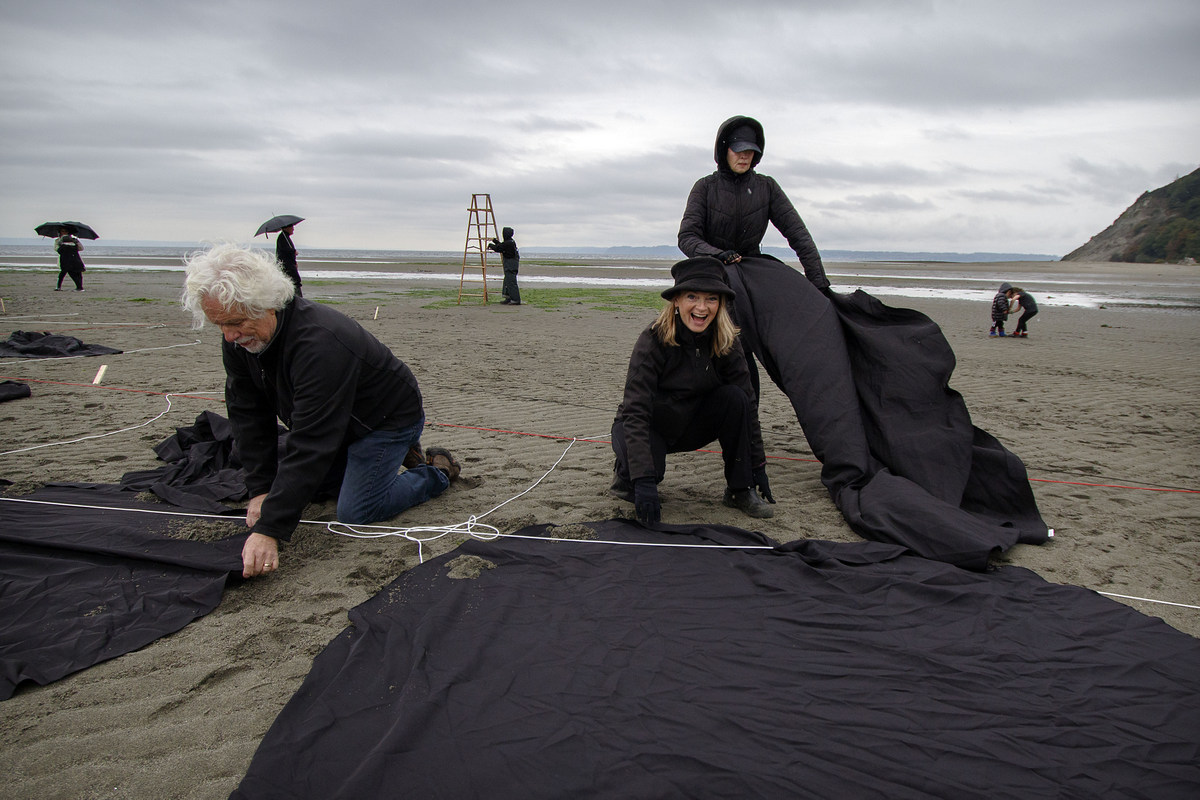 Volunteers gather to create orca image on the beach