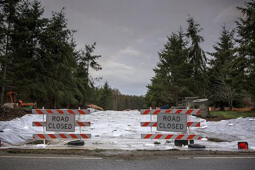 New road covered in white tarp